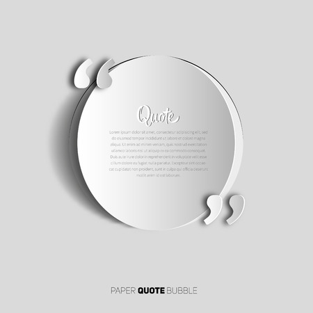 Circle papercut Quote text bubble. place for your note, message and comment, element design template