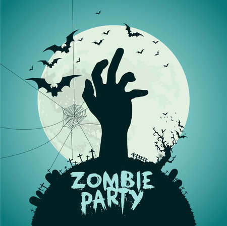 fool moon: Halloween vector illustration, Dead hand from the ground with sign zombie party