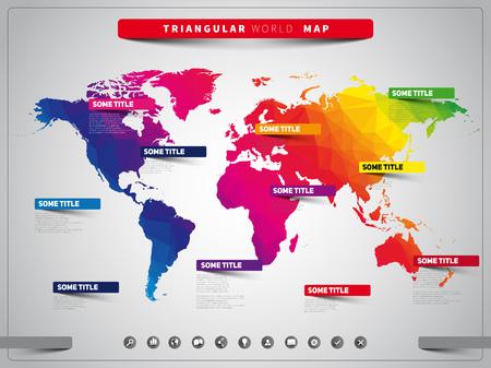 Wereldkaart illustratie en infographics, driehoekige vector ontwerpsjabloon