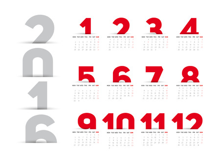 calendario octubre: Simple 2016 Calendar, 2016 calendar paper design, week starts with Sunday