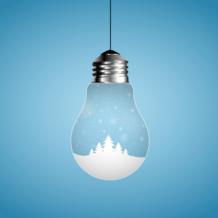 christmas light: Merry Christmas card, bulb with winter villlage, Creative modern stylish design. design with hanging light bulb