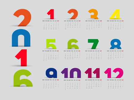 calendario: Simple 2016 Calendar, 2016 calendar paper design, week starts with Sunday