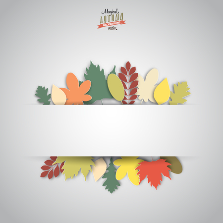papercut: Autumn abstract paper style background, horizontal banner style, papercut leafs, retro color style Illustration