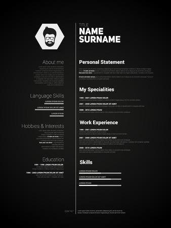 Minimalist CV, resume template with simple design, vector, dark version