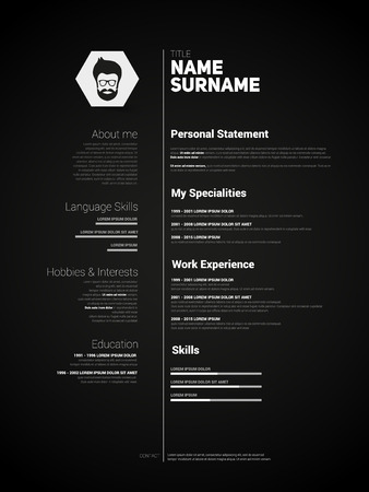 Minimalist CV, resume template with simple design, vector, dark version