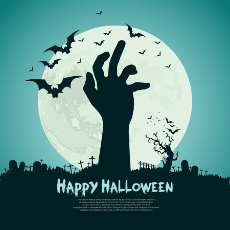 halloween message: Happy Halloween design with zombie hand, bats, graves, moon, vector illustration background