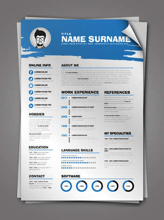 job descriptions: Minimalist CV on paper sheet with curl corner, resume template with simple design, vector, blue version