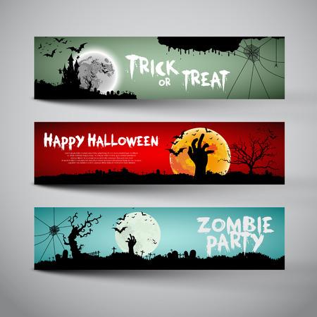 the banner: Happy Halloween banners establecen diseño, truco o, partido del zombi, ilustración vectorial