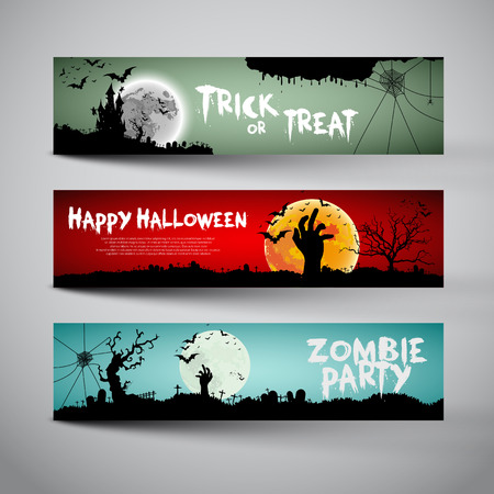 halloween: Happy Halloween banners set design, Trick or treat, Zombie party, vector illustration