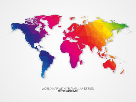 World map background in triangular style. Vector background Çizim