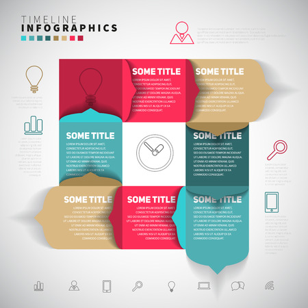 website template: Vector timeline Infographic report template with paper stripes and icons