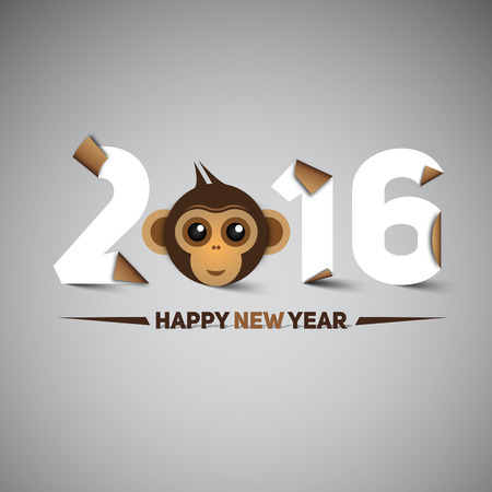 monkey: Happy new year, 2016, with monkey head - the year of monkey, letters in papercut style, moder design Illustration