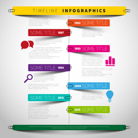 Vector timeline Infographic report template with paper stripes and icons