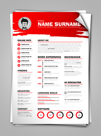 job descriptions: Minimalist CV on paper sheet with curl corner, resume template with simple design, vector, red version