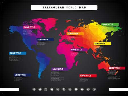 visualization: World map illustration and infographics, triangular vector design template, dark style