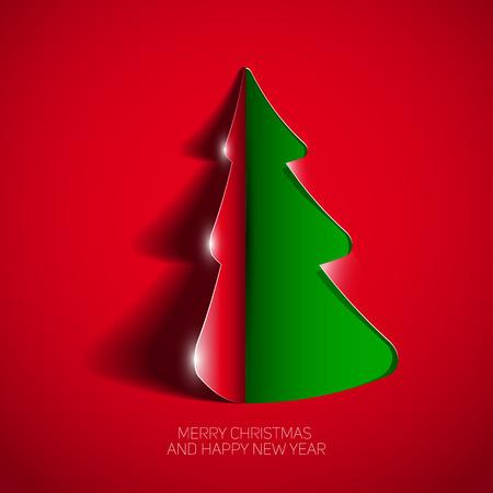 curled corner: Creative paper Christmas tree, Curled Corner Paper style, Vector Illustration Illustration