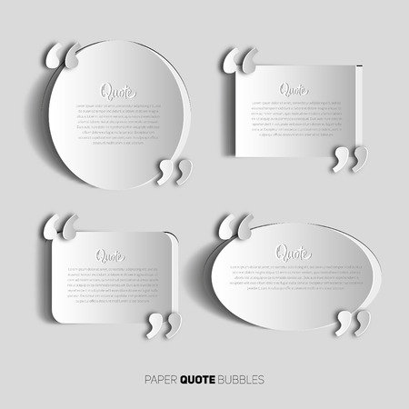 text bubble: Set of papercut Quote text bubbles. place for your note, message and comment, element design template Illustration