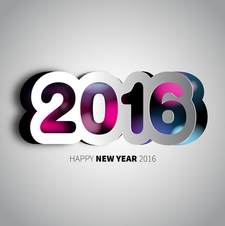 Happy New Year, 2016 background with papercut year, vector illustration