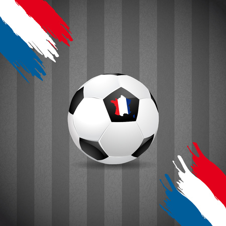 france: Concept for Euro 2016 France football championship. A soccer ball and a French map with a French flag Illustration