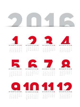 kalendarz: Prosty 2016 Kalendarz Ilustracja