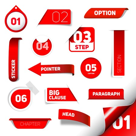 abstract banners: Set of red progress step icons