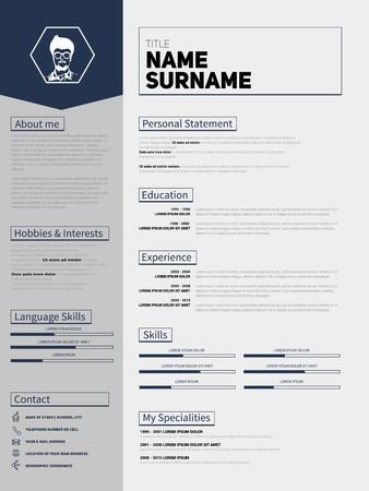 minimalist cv resume template with simple paper stripe design