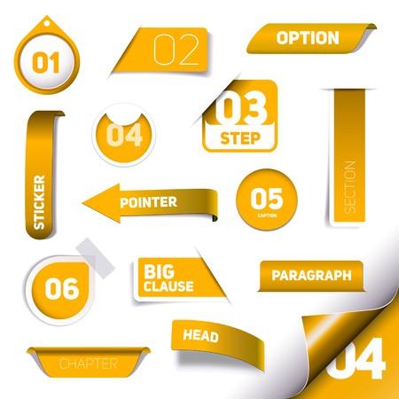 Set van oranje vooruitgang stap pictogrammen