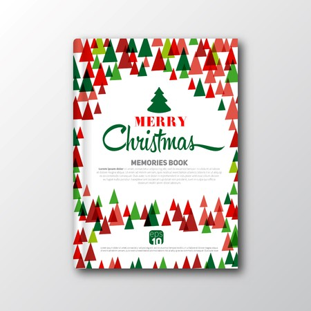 Christmas retro vintage book cover or flyer template