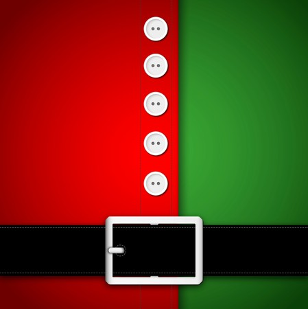 Red and green Santa Claus suit, black belt and white buttons, concept for greeting or postal card, vector illustration