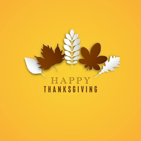 Happy Thanksgiving Day background, Collage of beautiful autumn leaves, can be use as flyer, poster or banner