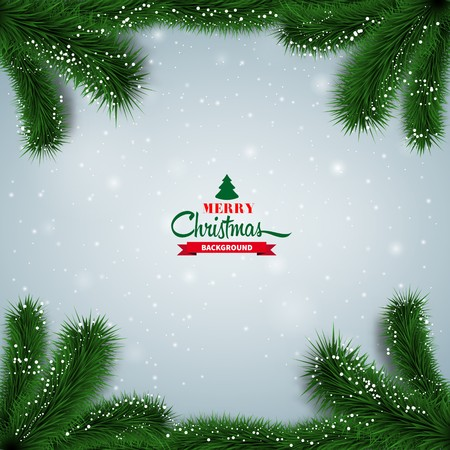 twigs: Winter abstract background with spruce twigs. Christmas vector frame