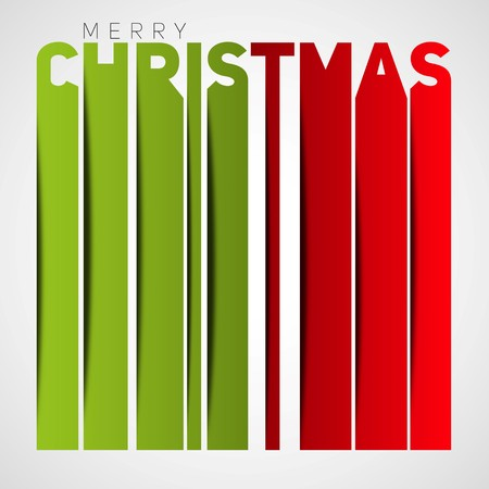 papercut: Merry christmas lettering, christmas card, vertical stripe lines, papercut style