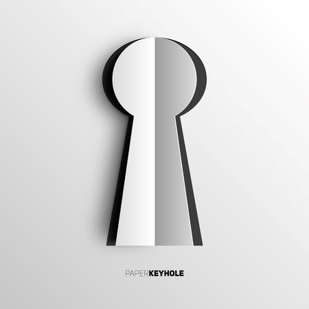 key hole: Keyhole in papercut style on bright background Illustration