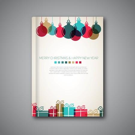 portadas libros: Cubierta de libro de Navidad o plantilla de volante, regalos de época retro y bolas de estilo, diseño simple