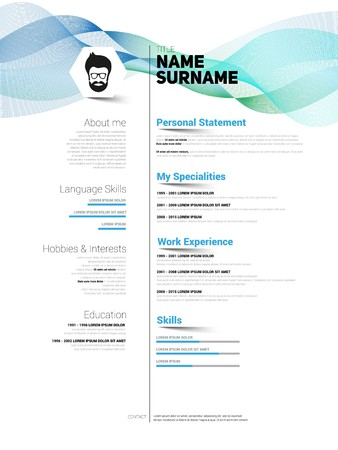 job descriptions: Minimalist CV, resume template with simple design, vector