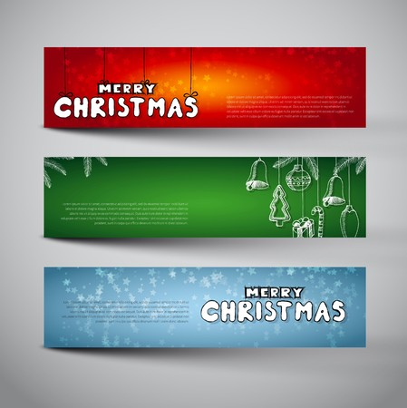 furtree: Set of three christmas banners with doodles, snoflakes and copyspace for your text, Merry Christmas letters by hand drawn typography Illustration