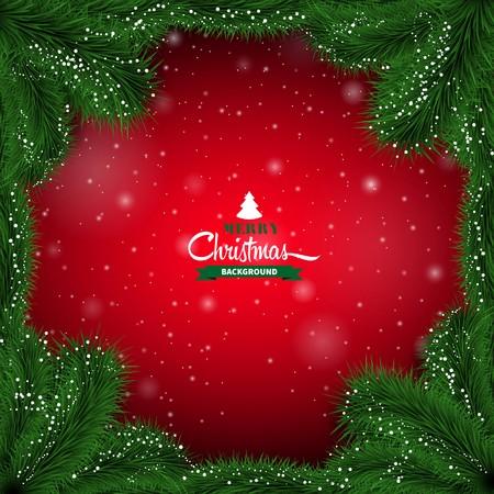 Invierno fondo abstracto rojo con ramitas de abeto. Marco del vector de la Navidad Foto de archivo - 48144712