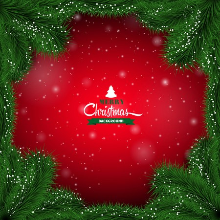 christmas day: Winter red abstract background with spruce twigs. Christmas vector frame