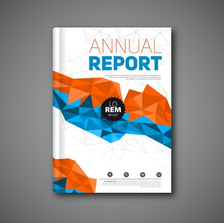 book cover: Annual report , Cover report geometric shapes design background, illustration