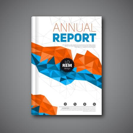 Informe anual, informe de la cubierta de formas geométricas de diseño de fondo, ilustración
