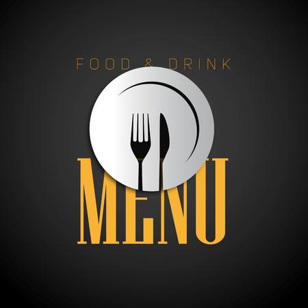 cafe food: Restaurant menu design, papercut knife and fork on plate on dark background