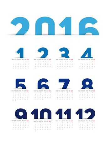 sunday paper: Simple 2016 Calendar, 2016 calendar paper design, week starts with Sunday