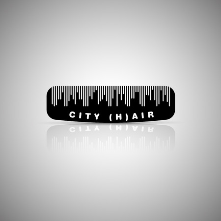haircutting: Hair city comb, detail in silhouette of the city, symbol