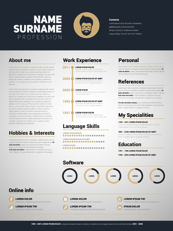 minimalist: Minimalist CV, resume template with simple design, gold design style Illustration