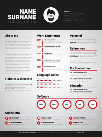job descriptions: Minimalist CV, resume template with simple design