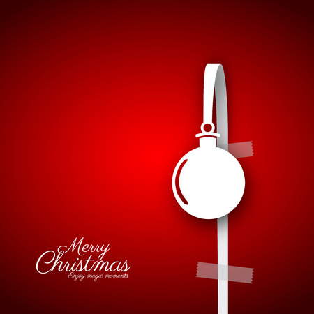 gift paper: Merry Christmas papercut ball or bauble gift card. Illustration. Hanging on white paper bow, red background Illustration