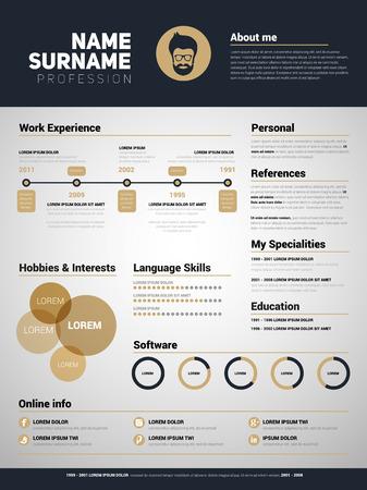 Minimalist CV, resume template with simple design, gold design style 矢量图像