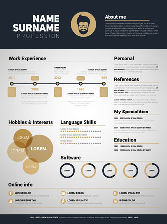 Minimalist CV, resume template with simple design, gold design style Illustration
