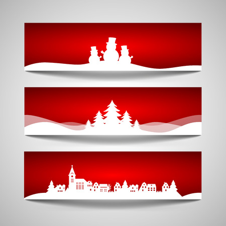 Set of Christmas banners with a papercut snowman, tree, village design cut out