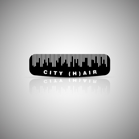Hair city comb, detail in silhouette of the city